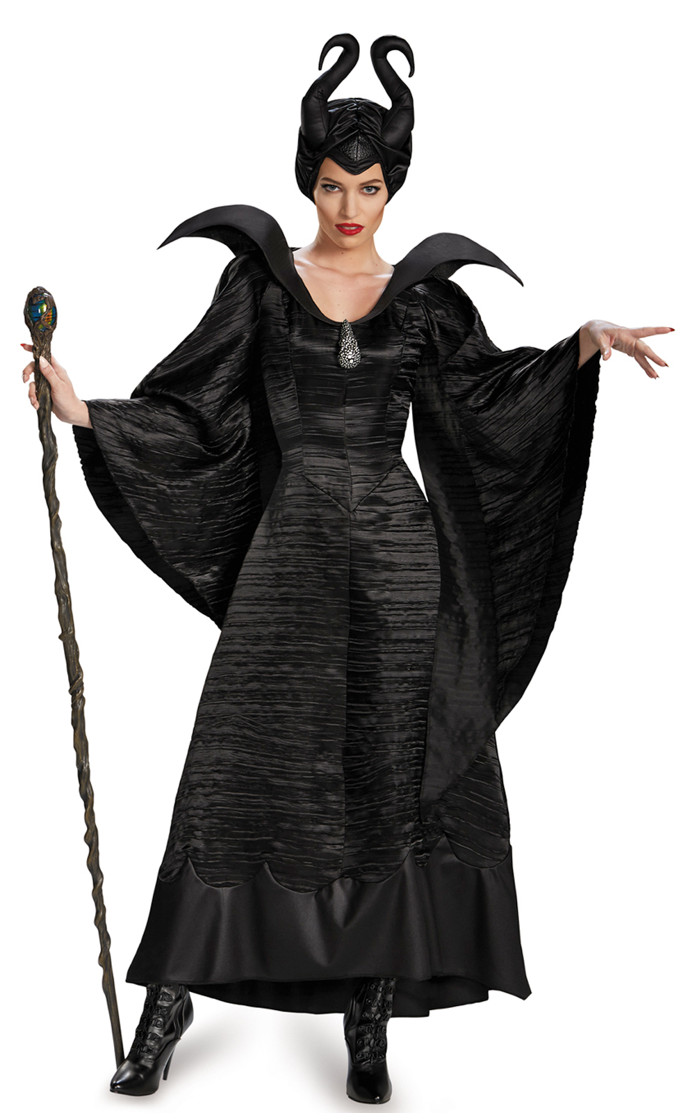 NEW Maleficent Deluxe Christening Black Gown Adult Halloween Costume Fancy  Dress