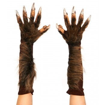 Wolf Gloves Werewolf Claws Hands Adult Costume Accessory Brown.jpg