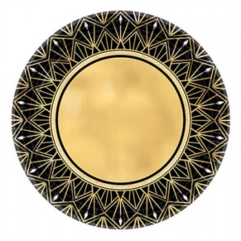 Glitz & Glam Black Gold Metallic Paper Lunch Plates Pack of 8.jpg