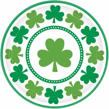 St. Patrick's Day Shamrocks Round Paper Dinner Plates Pack of 8.jpg