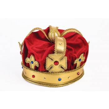 Adult Regal King Red Crown with Gold Accents Men's Royal Costume Accessory.jpg