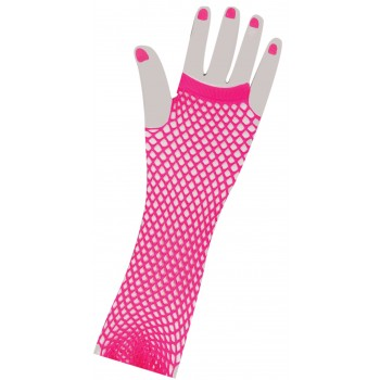 1980's Neon Pink Long Fishnet Women's Gloves Costume Accessory.jpg