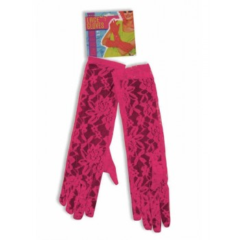 Neon Pink Lace Gloves Costume Accessory.jpg