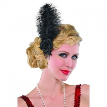 Roaring 20's Jazzy Black Feather Hairclip Adult Costume Accessory.jpg