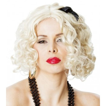 Madonna 80's Material Girl Blonde Adult Wig With Black Ribbon.jpg