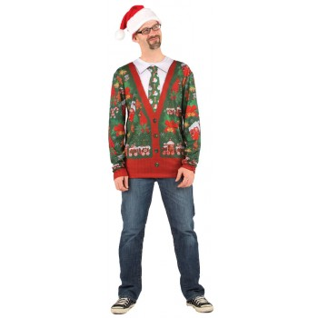 Ugly Sweater Christmas Cardigan Adult T-Shirt.jpg