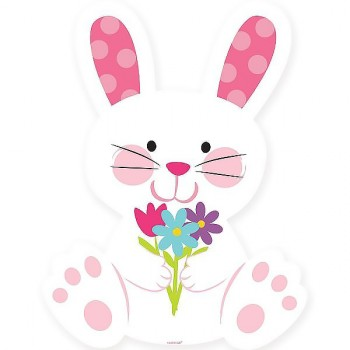 Easter Bunny Rabbit With Flowers Cardboard Cutout.jpg