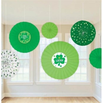 St. Patrick's Day Paper Fan Decorations Pack of 6.jpg