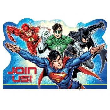 Justice League Invitations & Envelopes Pack of 8.jpg
