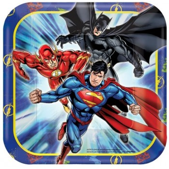 Justice League Square Paper Luncheon Plates 18cm Pack of 8.jpg