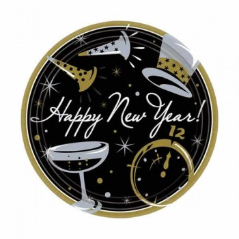Happy New Year Paper Lunch Plates 18cm Value Pack of 50.jpg