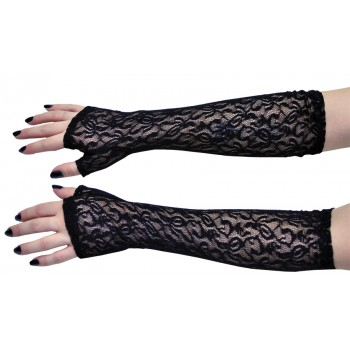 Elbow Gloves Black Lace Fingerless 1980's Women's Costume Accessory.jpg