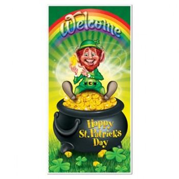 Happy St. Patrick's Day Leprechaun Plastic Door Cover.jpg