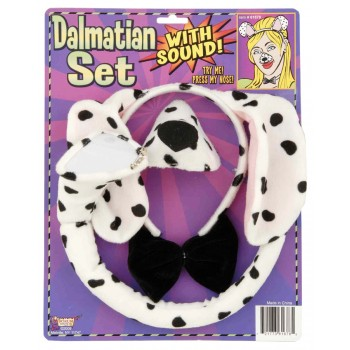 Dalmatian Dog Ears Tail Bowtie & Nose With Sound Costume Accessory Set.jpg