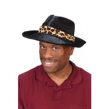 Pimp Gangster Mobster Costume Black Hat with Leopard Band.jpg