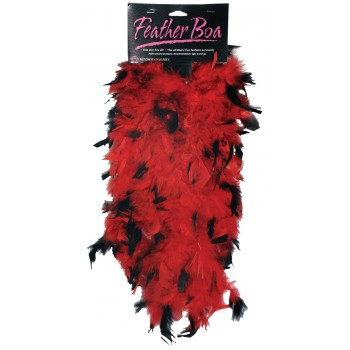 1920's Flapper Women's 6ft Red Black Feather Boa Costume Accessory.jpg