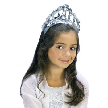Child Sparkling Silver Sequin Princess Costume Tiara .jpg