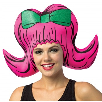 Bouffant Pink Foam Wig Hat Adult Costume Accessory.jpg