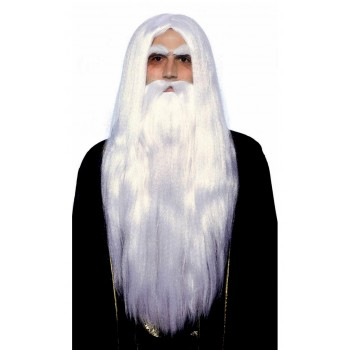 Magical Wizard Merlin Men's Wig and Beard Costume Accessory.jpg