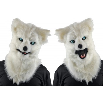 Animated Animal White Wolf Mask With Sound Adult Costume Accessory.jpg