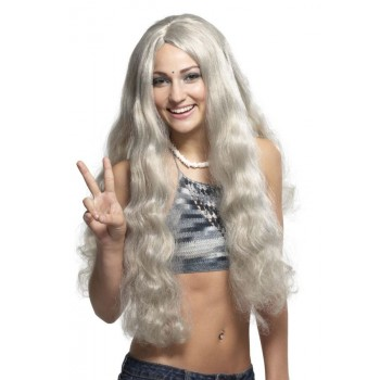1960s Style Hippie Wig Costume Accessory Gray.jpg