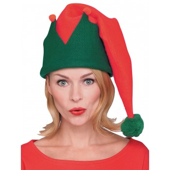 Christmas Elf Hat Long Red Green Adult.jpg