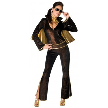 Secret Wishes Elvis Black Fancy Dress Adult Women's Costume.jpg