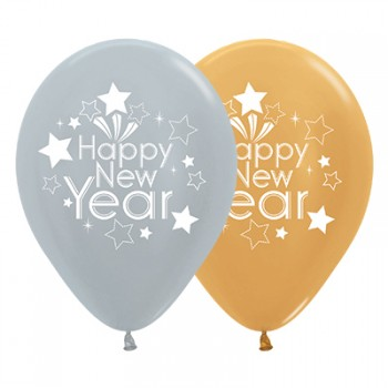 Happy New Year Silver Gold Metallic 30cm Latex Balloons Pack of 25.jpg
