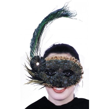 1920's Style Peacock Feather Mask Adult's Masquerade Ball Costume.jpg