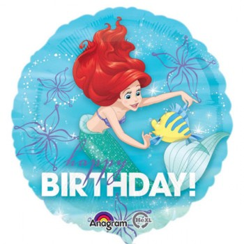 Ariel Little Mermaid 45cm Happy Birthday Foil Balloon.jpg