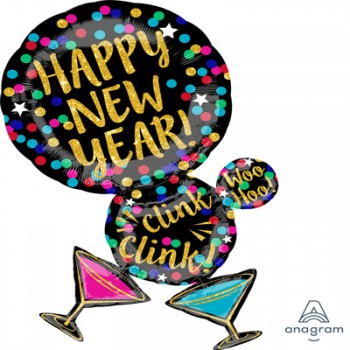 Shape Happy New Year Martini Glasses Foil Balloon.jpg