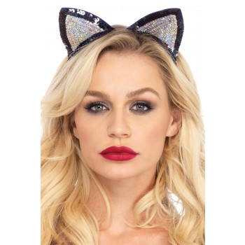 Cat Ears Silver Black Sequin Adult Costume Accessory.jpg