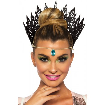 Black Glitter Die Cut Crown Adult Costume Accessory.jpg