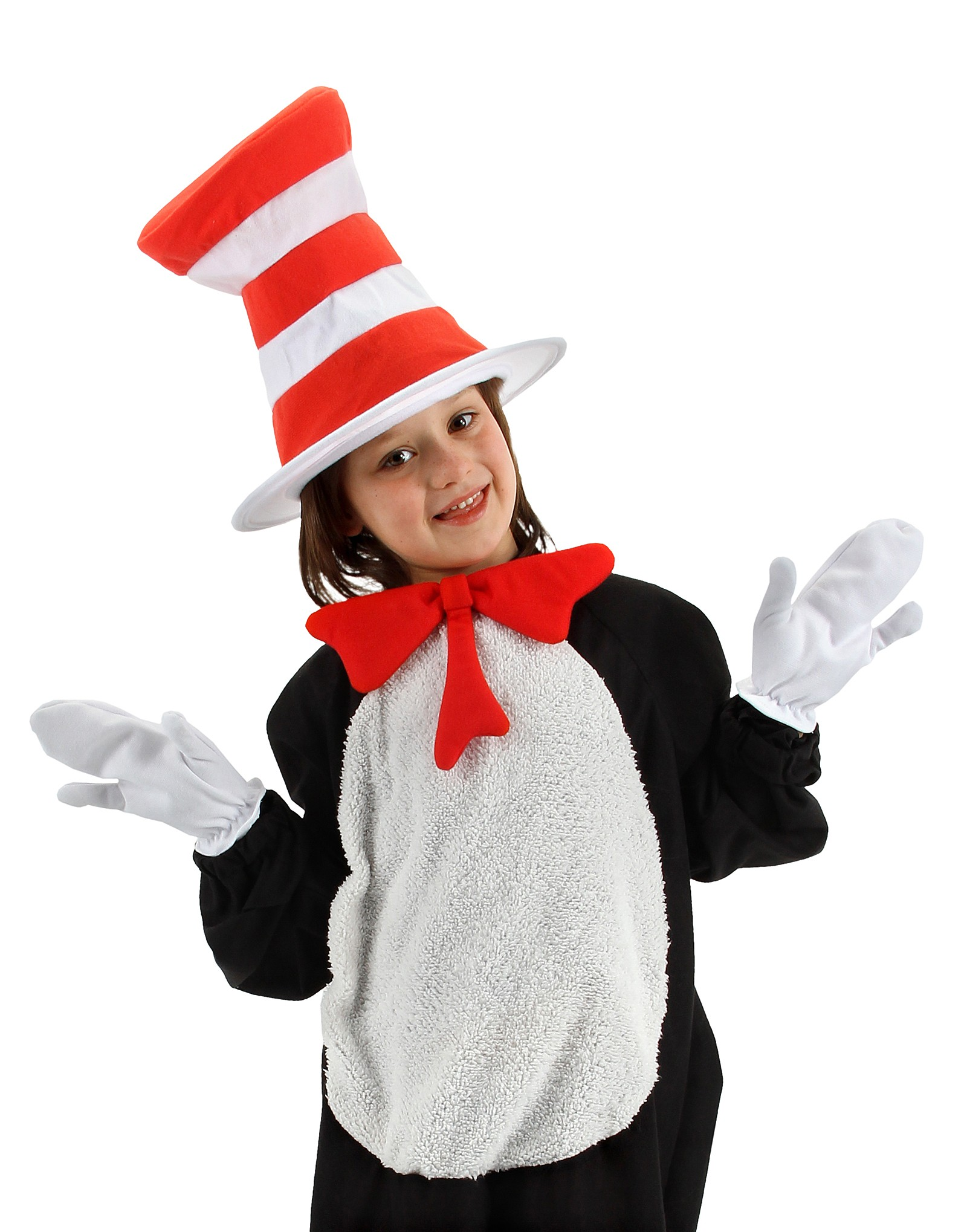 Dr Seuss Cat in Hat Costume Jumpsuit Child Kids Boys Girl Book Week Accessories