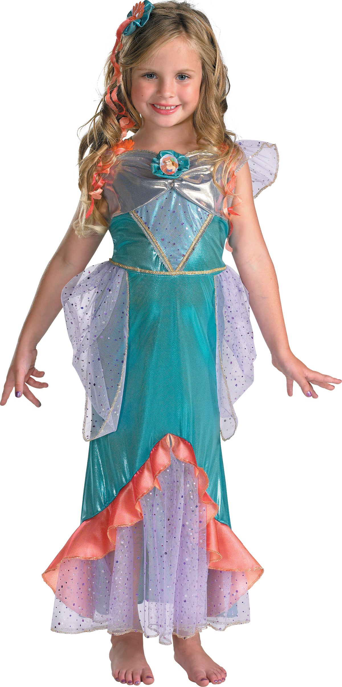 the little mermaid ariel deluxe toddler / child girl's costume