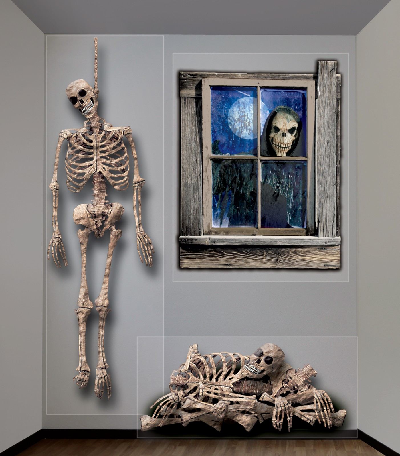Halloween Giant Ghastly Skeleton Wall Decorations ...