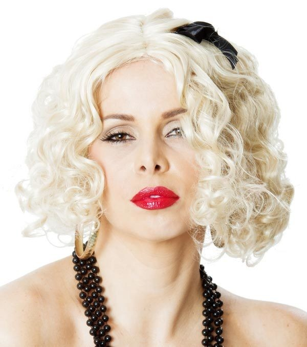 Madonna 80 s Material Girl Blonde Adult Wig With Black Ribbon ... cdec2c1b560a