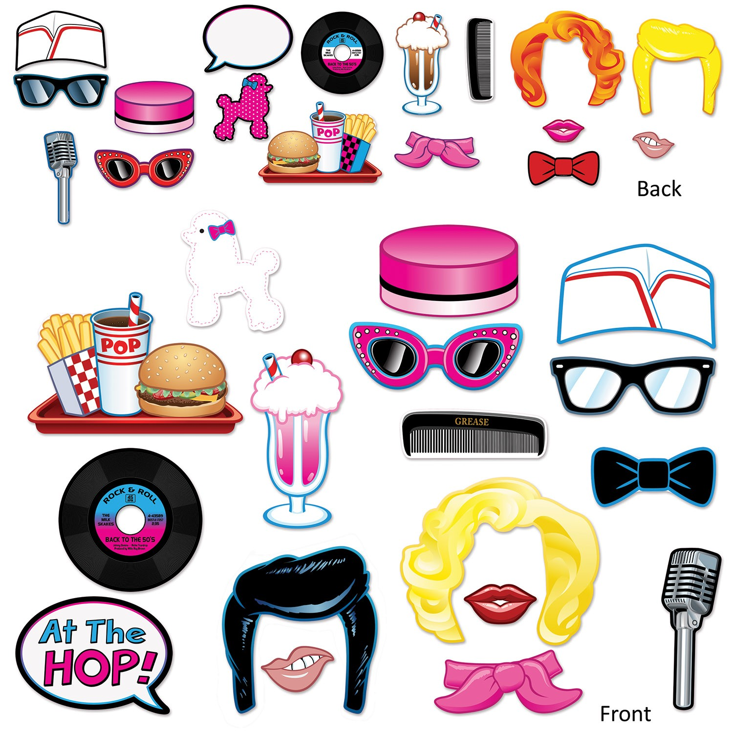 50s Rock And Roll Cardboard Photo Booth Props Pack Of 17 Costumes