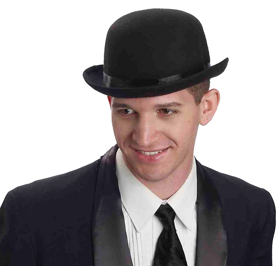 deluxe bowler derby charlie chaplin costume hat black. Black Bedroom Furniture Sets. Home Design Ideas