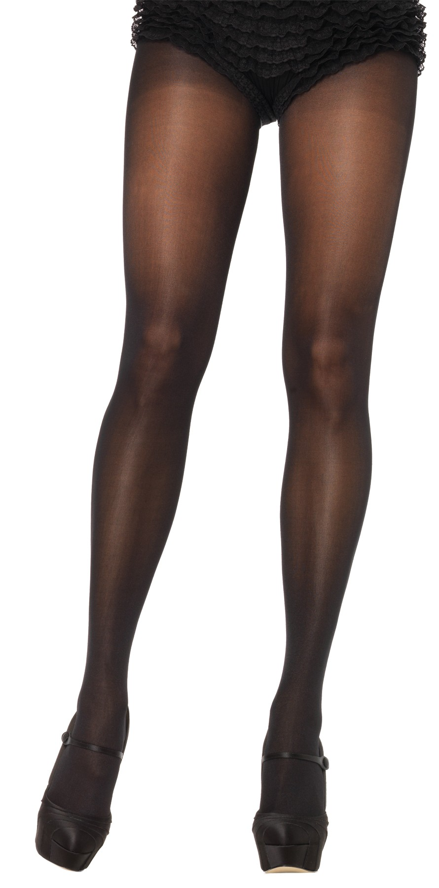 062829d203a Opaque Sheer Waist Black Tights Adult Costume Accessory