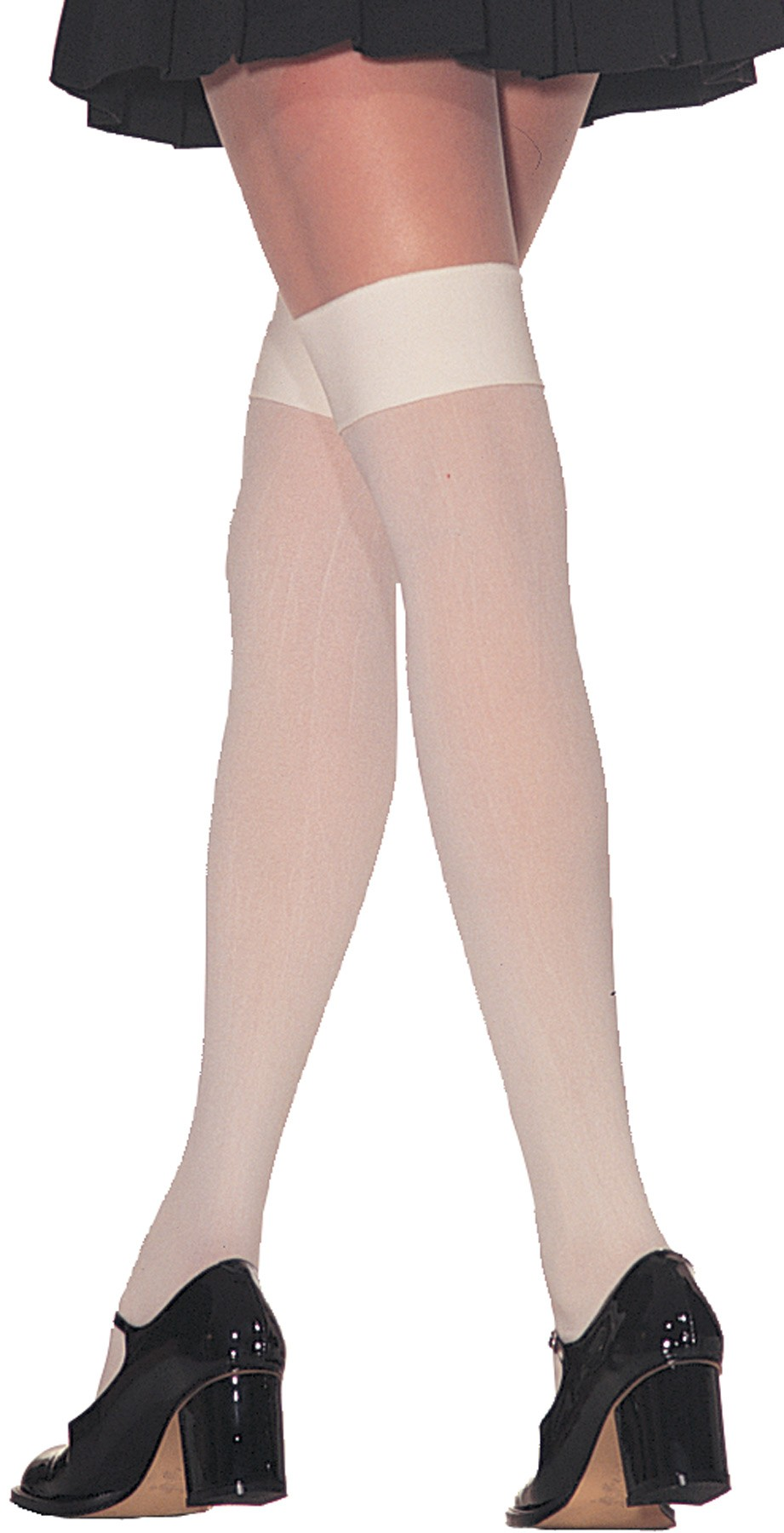 fa51d768d6d Thigh High Opaque Nylon White Stockings Adult