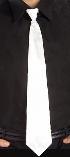Retro Adult Long Skinny Tie Gangster Costume Accessory White_thumb.jpg