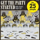 New Year's Get the Party Started Black Silver Gold Party Pack Kit for 25 People_thumb.jpg