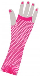 1980's Neon Pink Long Fishnet Women's Gloves Costume Accessory_thumb.jpg