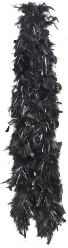 Black or White Feather Boa With Silver Lurex Women's Costume Accessory_thumb.jpg