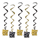 Happy New Year Black Gold Hanging Whirl Decorations Pack of 5_thumb.jpg
