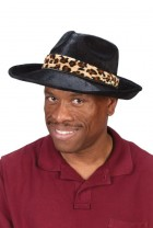 Pimp Gangster Mobster Costume Black Hat with Leopard Band_thumb.jpg