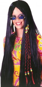 33 Inch 60's 70's Black Braided Hippie Retro Adult Wig Costume Accessory_thumb.jpg