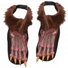 Werewolf Feet Shoe Covers Adult Costume Accessory Brown_thumb.jpg
