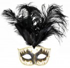 Adult Venetian Carnival Mask With Big Feather Plume Black Gold_thumb.jpg